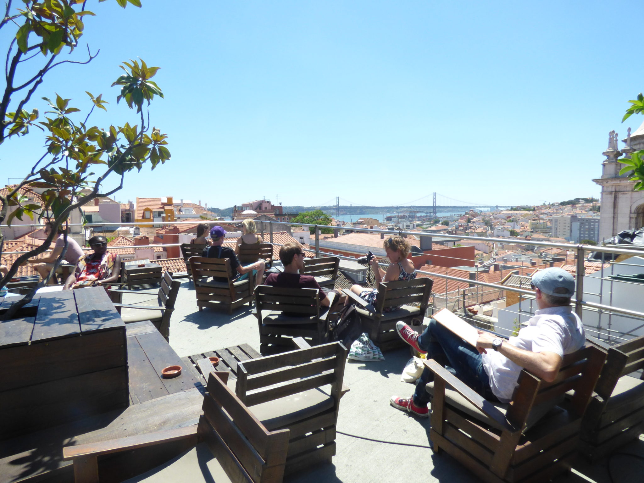 rooftop park bar view point river drink chill lisbon party friends beer